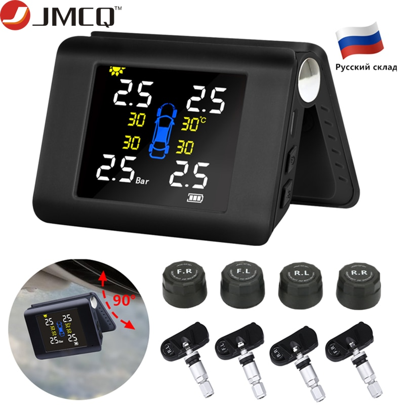 JMCQ TPMS солнечная система контроля давления в шинах с 4 датчиками ЖК-дисплей в реальном времени автомобильная система сигнализации давления в...