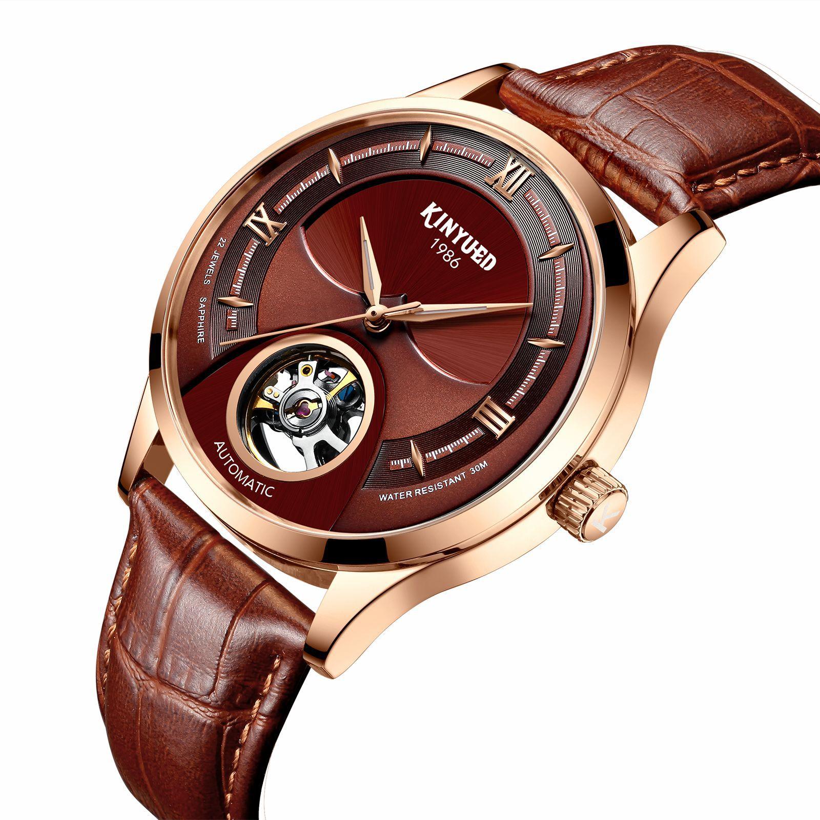 Novo kinyued relógio de couro masculino 44 diâmetro
