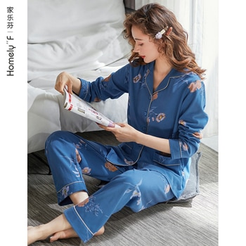 Pajamas Women's Spring and Autumn Fall Pure Cotton Long Sleeve Home Wear Cotton Summer Thin Large Size Suit for Middle-Aged