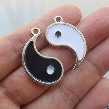 Couple pendentif ensemble Supernatural Goth Wicca potins Tai Chi Yin Yang Yinyang Patch amitié Couple émail breloques pendentifs Couple
