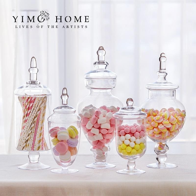 خزان تخزين زجاجي على الطراز الأوروبي الغربي الحديث ، جرة حلوى زجاجية ، ديكورات منزلية لحفلات الزفاف ، لوازم الحفلات