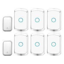 CACAZI sonnette sans fil auto-alimenté   Sonnette de porte sans fil, sans batterie, prise ue UK, sonnette de porte sans fil 2 boutons 6 récepteurs 60 carillons