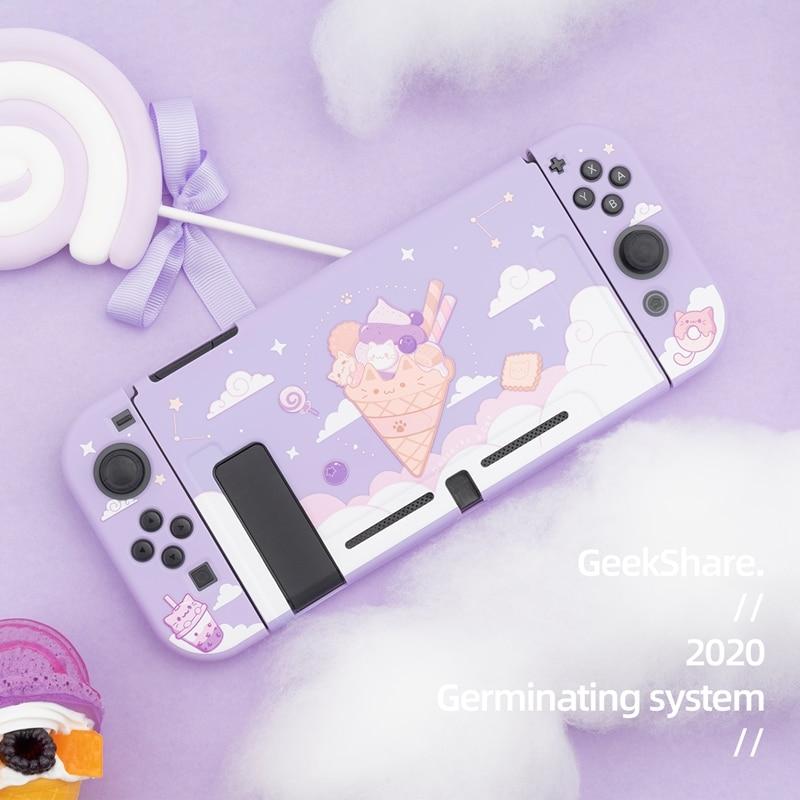 Geekshare Nintendo Switch Ice Cream Cat Cartoon Purple Starry sky Fairy League TPU Soft Cover Back Girp Shell For Nintend Switch