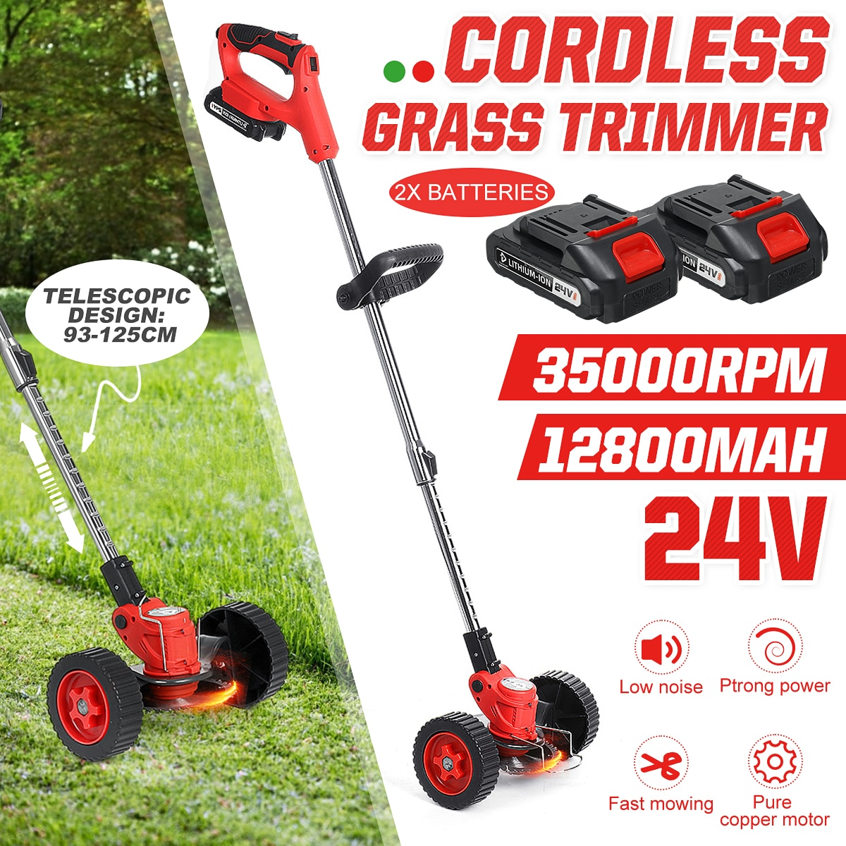 With 2 Battery Grass Trimmer 35000R Garden Lawn Mower Rechargeable Cordless Grass Pruning Tool Machine For Makita Battery&Wheels