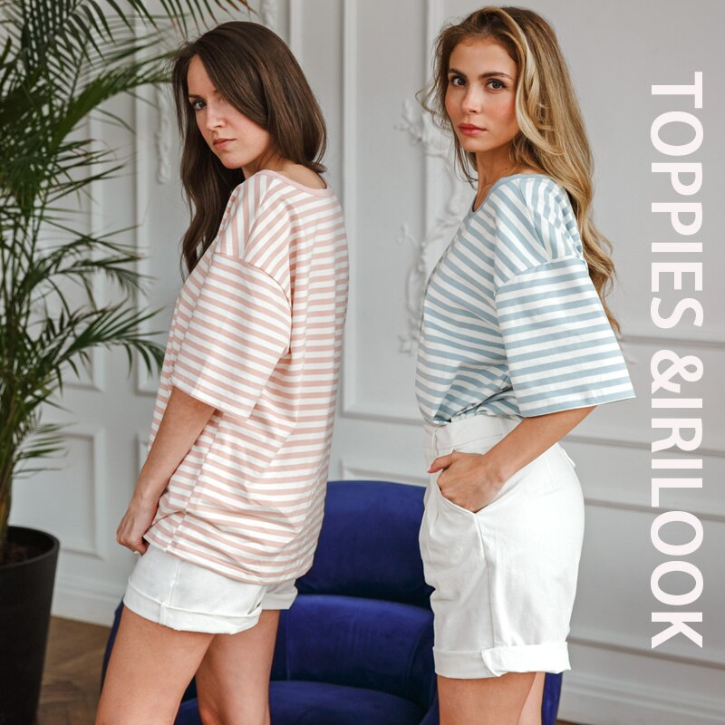 Toppies Casual Oversized Stripped T-shirts Around the neck Vintage Basic Tops Teas Woman Short Mouw T-shirts Summer 2021