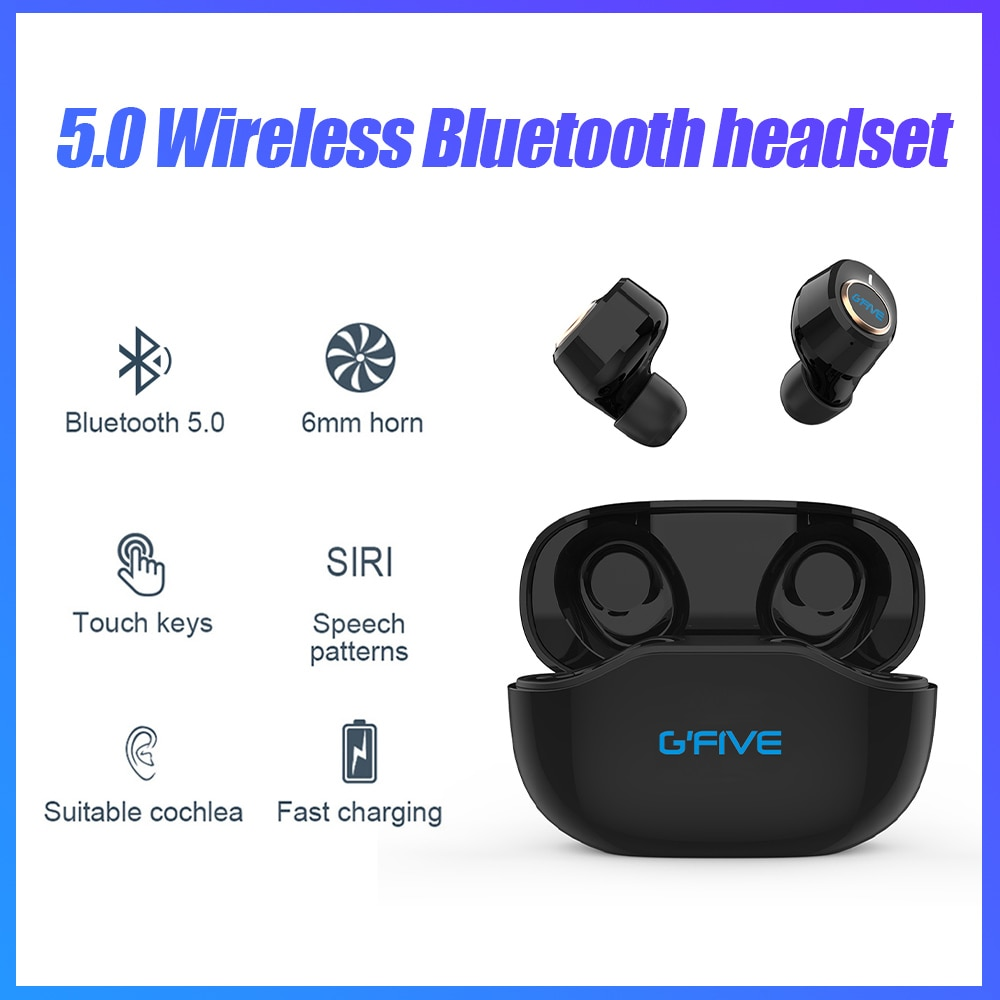 GFIVE Wireless Bluetooth 5.0 Earphone Touch Control In-ear Stereo Headphone with Charging Box Waterproof  Headset Earbuds