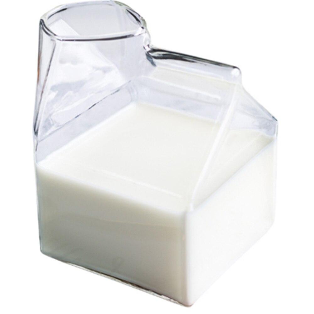 Directo de fábrica 1 pieza 300ML taza de vidrio, caja de leche, taza de media pinta, cartón de leche, estilo creativo, Mini jarra de vidrio, Taza de leche