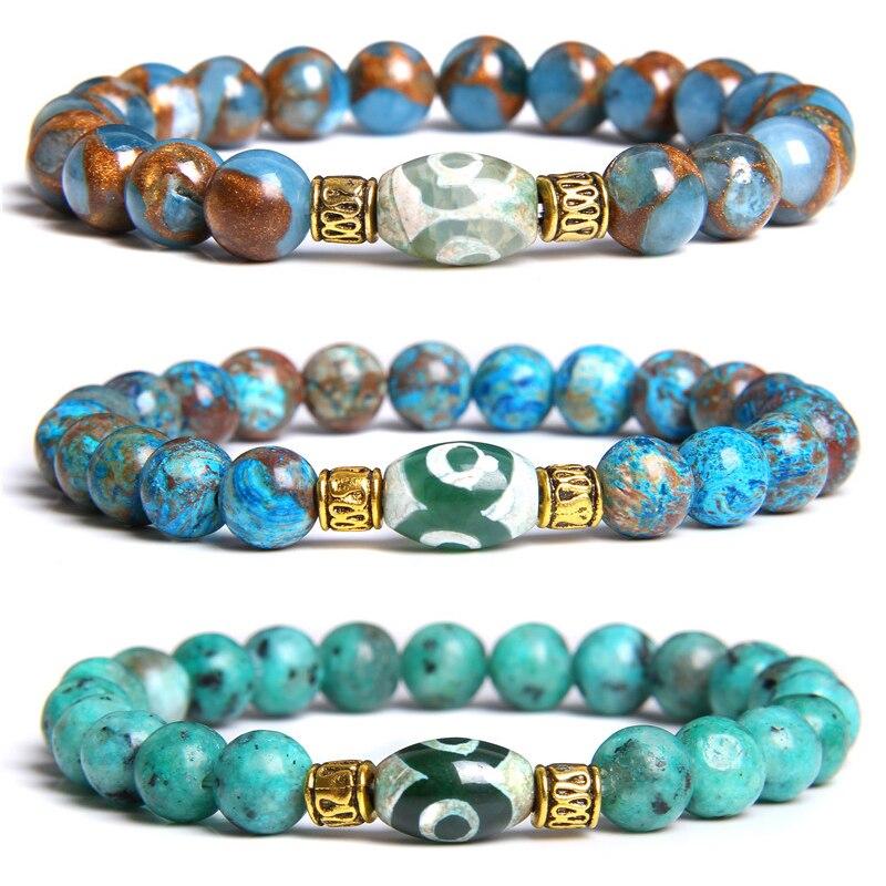 Cuentas de piedra Natural para hombres, pulsera cloisonné, cuentas de Dzi tibetanas ovaladas Vintage, pulsera con abalorio para mujeres y hombres, joyería energética