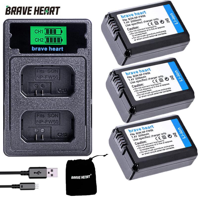 Batería de la Cámara 2000mAh NP-FW50 PN FW50 + cargador Dual USB...