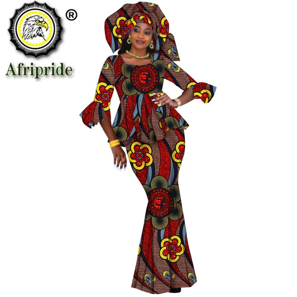 AFRIPRIDE-زي مطبوع أفريقي للنساء ، dashiki ، قمصان علوية ، تنانير طويلة ماكسي ، عقال كبير ، ملابس تقليدية ، S1926027