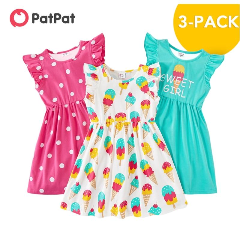 PatPat-فساتين صيفية للبنات ، مجموعة من 3 قطع ، ملابس أطفال منقطة ، آيس كريم ، مجموعة جديدة من 3 إلى 6 سنوات ، 2021