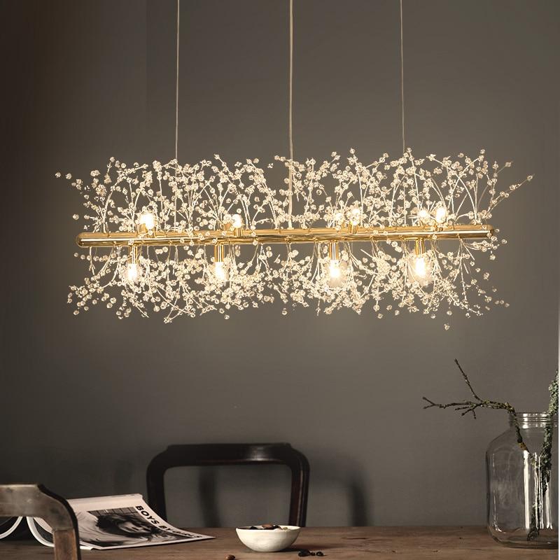 ندفة الثلج الثريا LED الشمال المنزل مصباح ديكور الهندباء الإبداعية الكريستال الحديثة مصباح لتهيئة الجو غرفة المعيشة الفاخرة الإضاءة