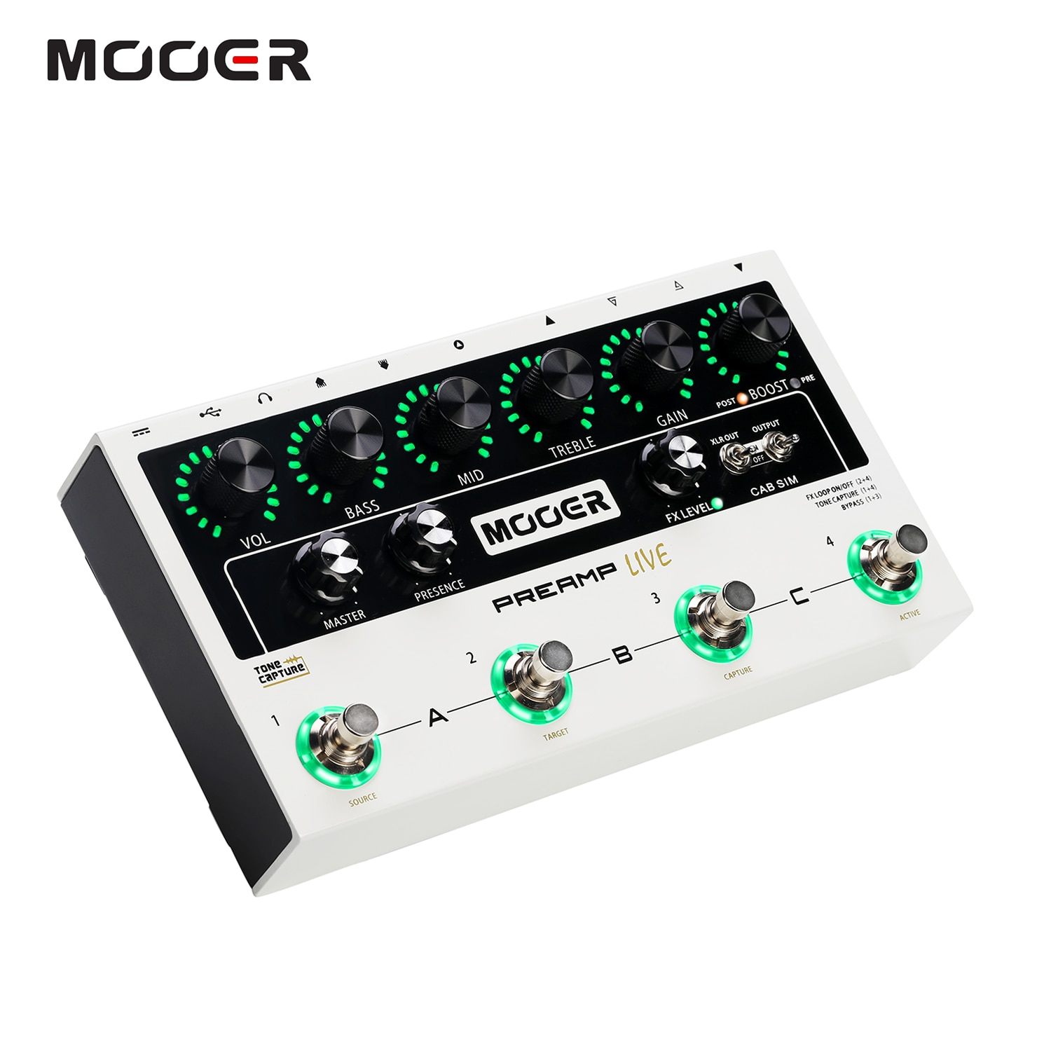 MOOER PREAMP LIVE Professional Digital Preamp Pedal Preamplifier12 Channels Pre & Post Booster 3-Band EQ Speaker Cabinet