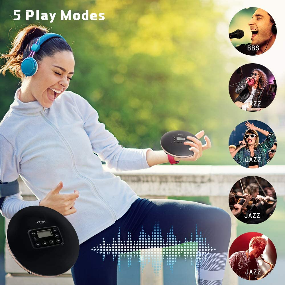 HOTT CD Player Portable Bluetooth CD Player Music Player Hi-Fi Quality with Headphones /Shock Protection Function /LED Display enlarge