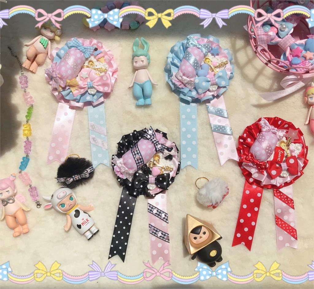 Sweet Candy Polka Dot Pink Color Matching Original Hand-Made Badge Sweet Small Things