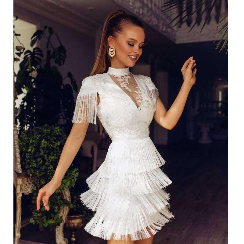 Venta al por mayor, novedad de 2020, vestido de mujer de alta calidad Blanco borla Rosa con cuello en V, vestido sexy de cóctel de celebridades, vestido de fiesta ajustado
