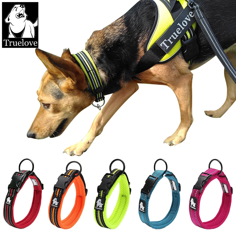 Truelove Adjustable Mesh Padded Pet Dog Collar 3M Reflective Nylon Dog Collar Durable Heavy Duty for All Breed All Weather