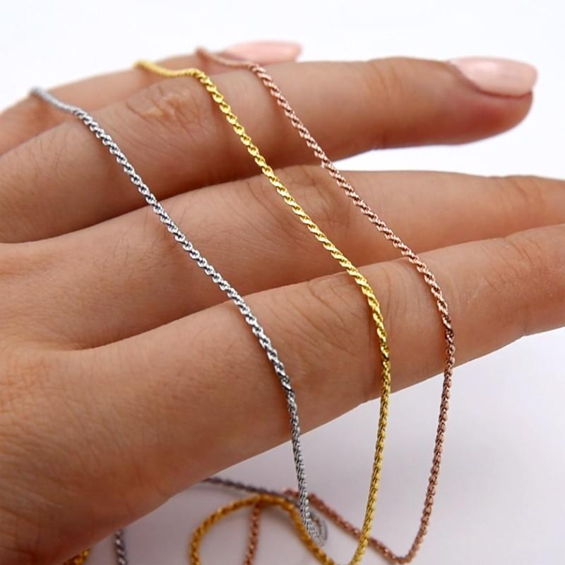 MIQIAO 925 فضة حبل سلسلة البلاتين روز الذهب اللون طويل 40 45 50 55 60 65 70 80 سنتيمتر واسعة 1.0 1.5 2.3 مللي متر قلادة الرجال