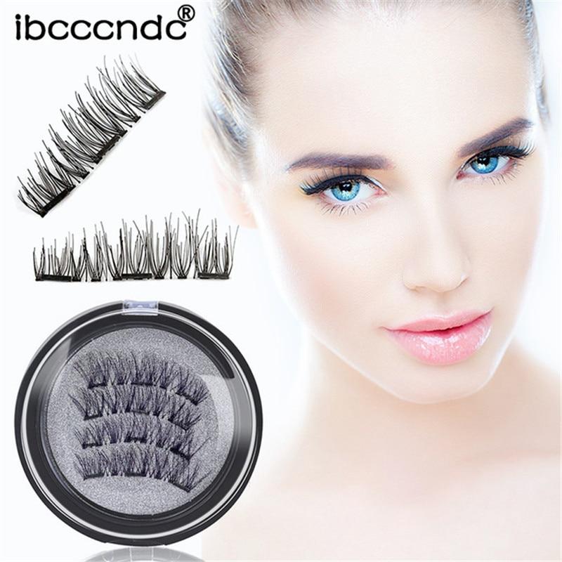 3 Magnet 3D Magnetic Eyelashes Magnet Lashes Thicker Reusable False Eyelashes Handmade No Glue Eye Lashes Makeup Kit 4pcs/pair