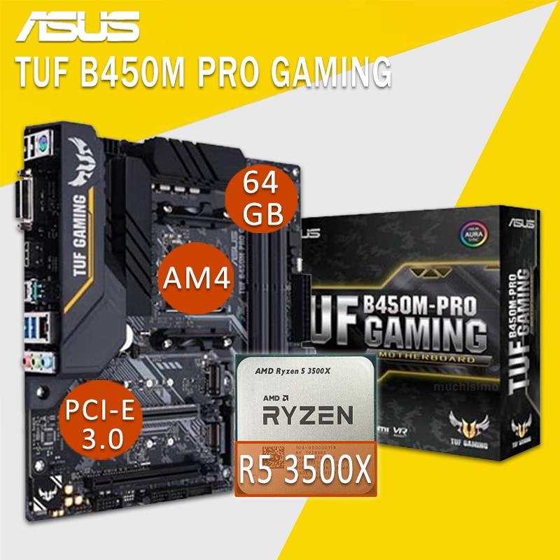 اللوحة الام للالعاب الاسوس TUF B450M PRO مع AMD Ryzen 5 3500X اللوحة الام كومبو DDR4 RGB DVI AMD Ryzen العاب بلاسا-mdooe AM4 جديد