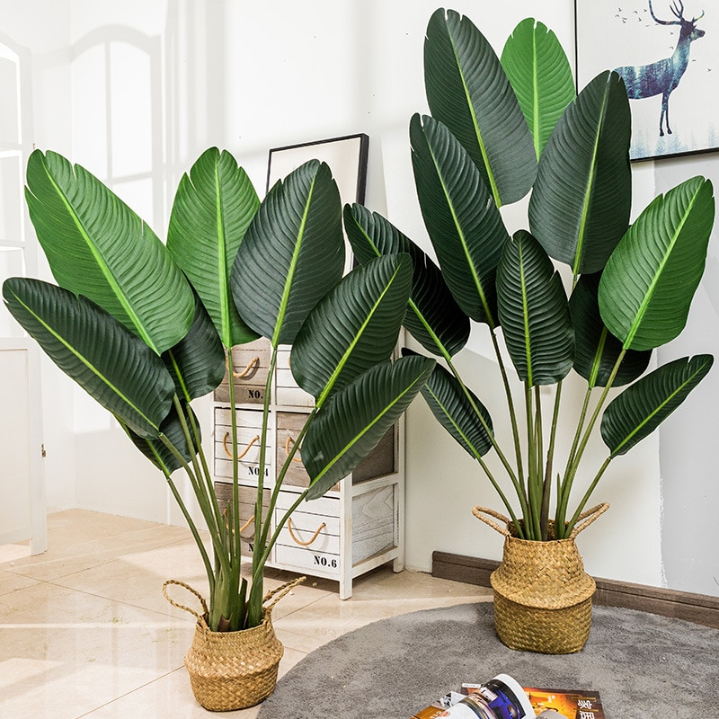 Artificial Plant Traveler Banana Tree Simulation Tropical Large Potted Plants Banana Tree Plants Pots for Home Office Decoration