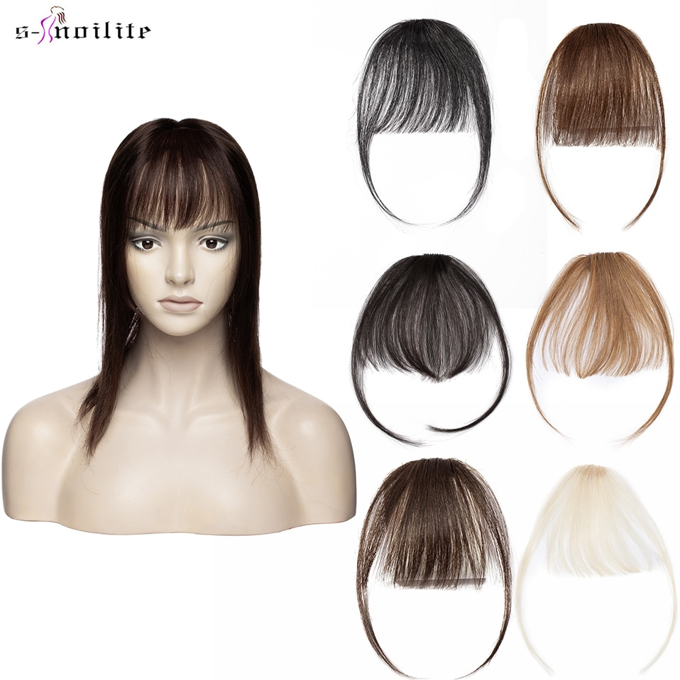 S-noilite Hair Bangs Thin Fringe 3g Air Bangs With Temples Hair Clip in Human Hair Extensions Hair Clips Front Bangs For Women