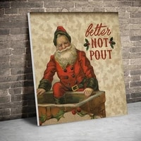 framed better not pout santa christmas decor posters canvas paintings wall art canvas prints pictures kids room home inner frame