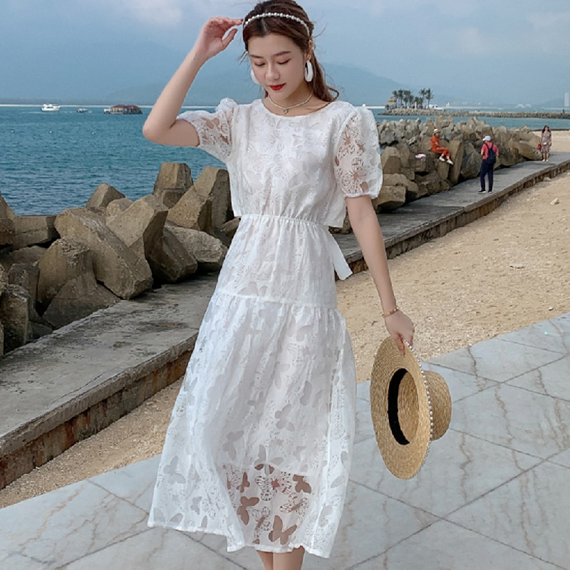 Honeymoon Vacation Party Night Dress Long New Women Long White Lace Dresses Summer 2021 Runway Boho Vintage French Fairy Dress