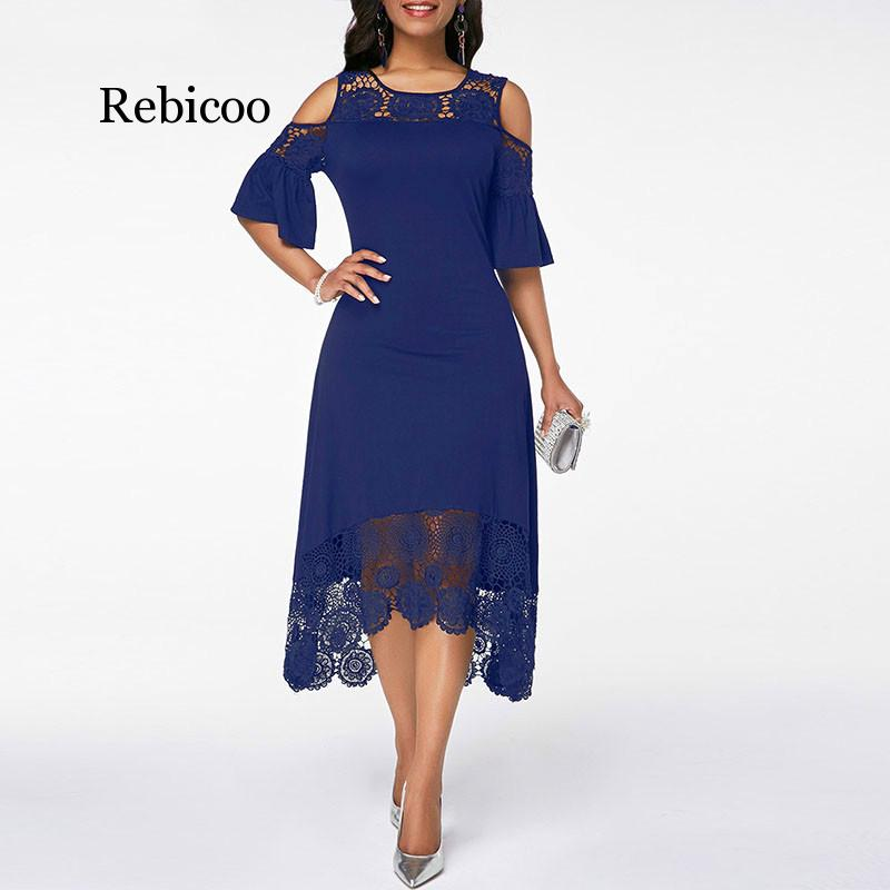 Women Cold Shoulder Flare Cuff Lace Panel Dress A-Line Patchwork Mid-Calf Elegant Plus Size O-neck Summer Party Dress