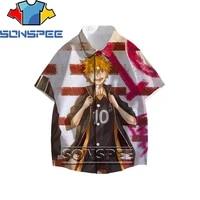 sonspee haikyuu volleyball prince anime 3d men%e2%80%99s shirt summer fashion casual short sleeve shirt hip hop hawaii street beach top