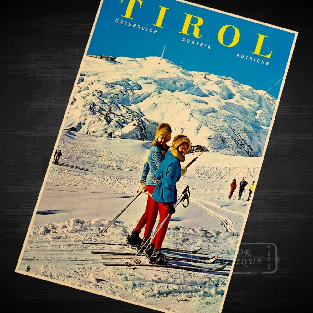 Tirol esquí Vintage Retro lienzo de pintura cartel DIY de pared carteles para Bar casa decoración regalo