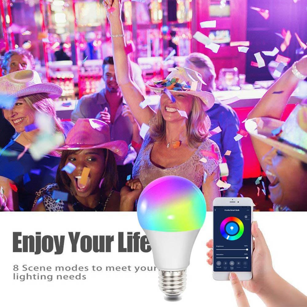 7 W E27 WiFi bombilla inteligente lámpara LED inalámbrica Bluetooth bombilla inteligente iluminación del hogar lámpara mágica RGB cambio de Color bombilla operar