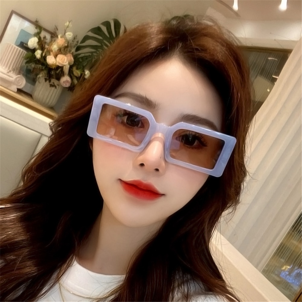 Jelly Color Small Rectangle Sunglasses for Women Female Personality Fashion Street Shooting Hip-hop