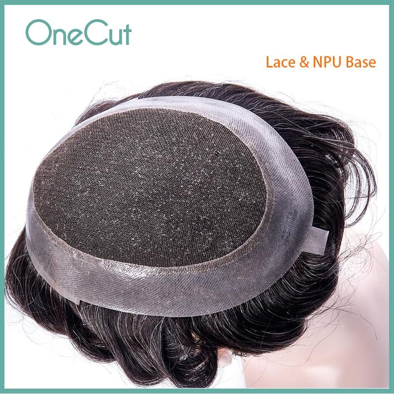 Кружевной мужской парик из ПУ кожи, дышащие человеческие волосы, заменяет мужскую t-систему, удобный натуральный брикет, мужской капиллярны...