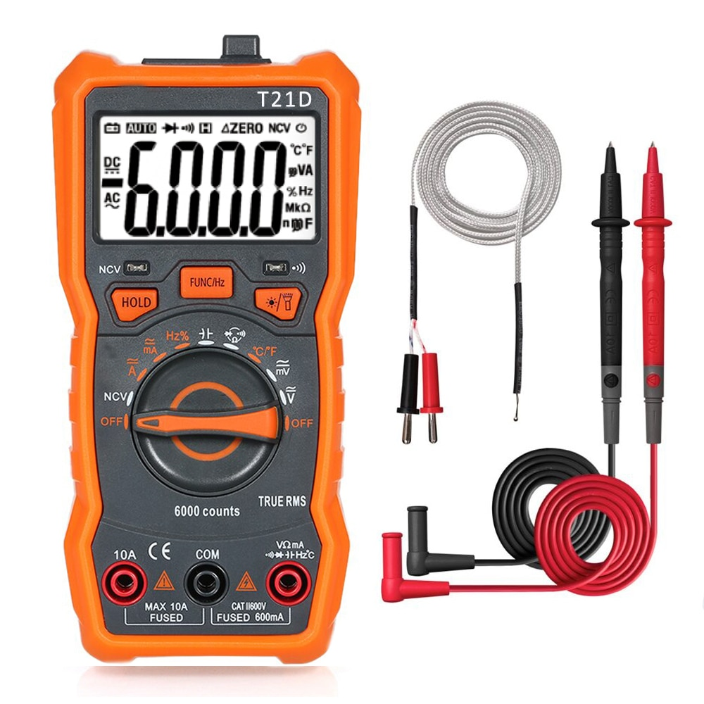 Multímetro Digital T21D, RM113D, analógico, 6000 recuentos, condensador Transistor, medidor de capacitancia...