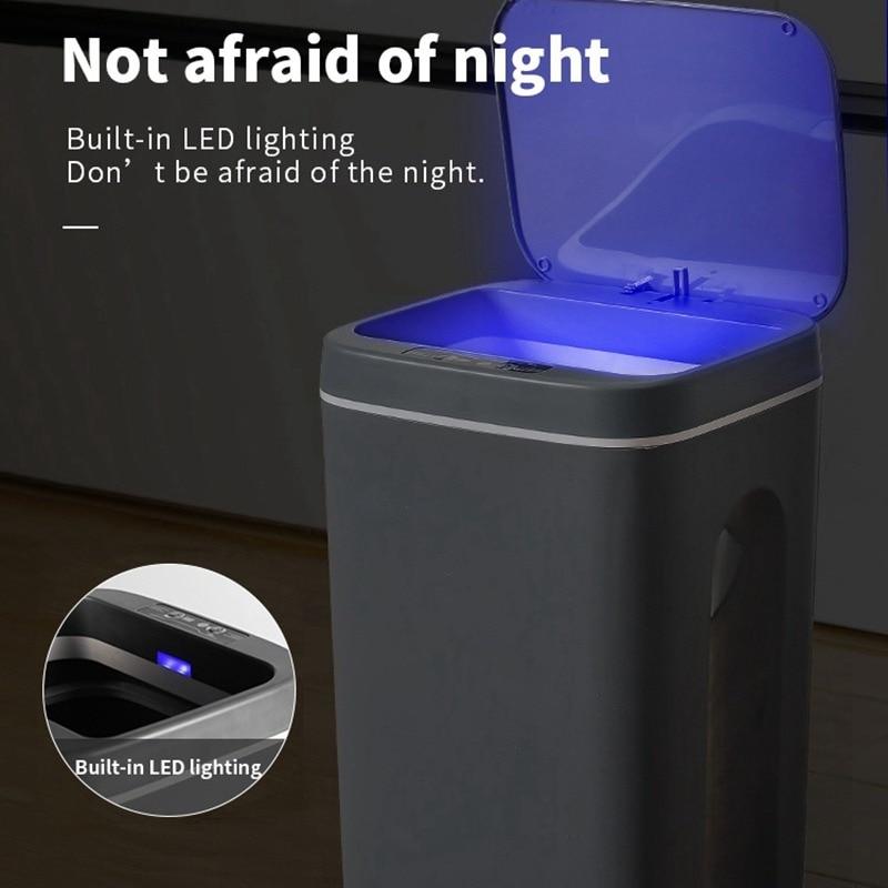 16L الذكية صندوق مهملات بمستشر يمكن الحمام مقاوم للماء حاوية القمامة قابلة للشحن المطبخ غرفة المعيشة حاوية القمامة اكسسوارات الحمام