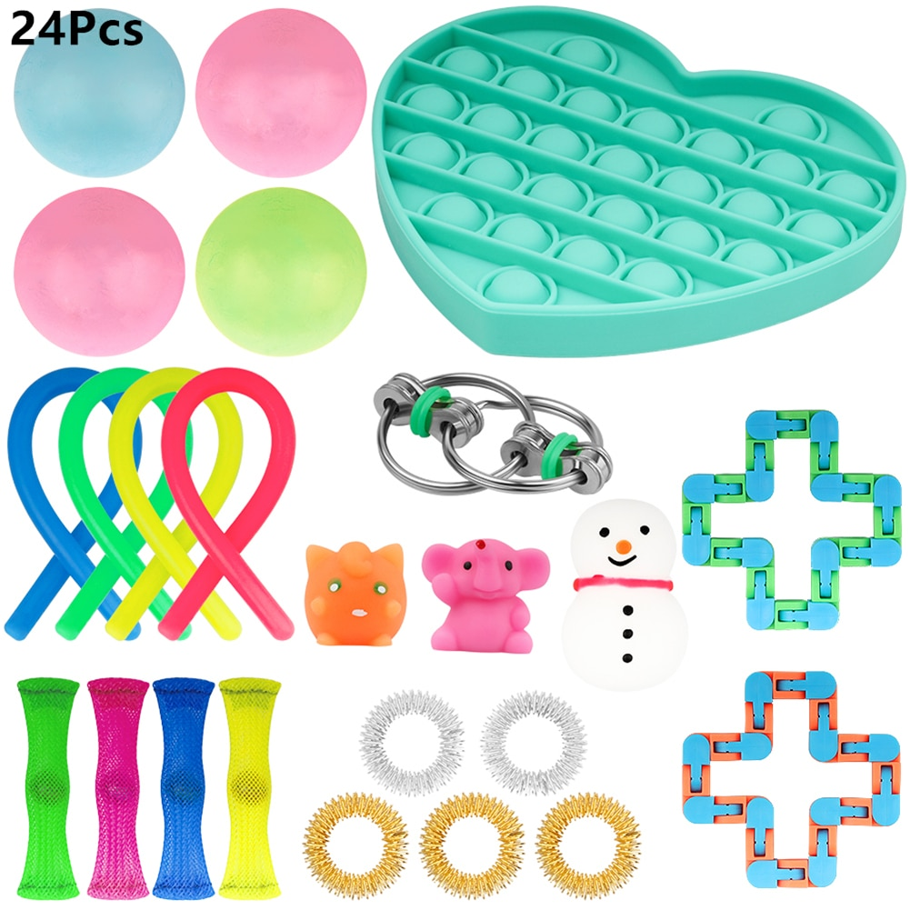 Toy Gift 19/24Pcs Fidget Sensory Toy Set Toys Autism Anxiety Relief Stress Pop Ball Bubble Decompression Gift For Boy/Girl/Kids enlarge