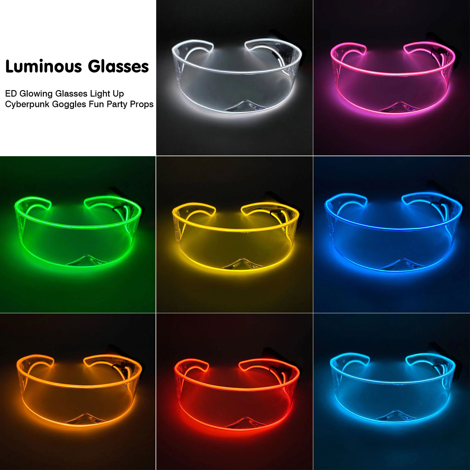 2*AAA LED Glowing Glasses Light Up Cyberpunk Goggles For Parties, Concerts, Bars, KTV, Dancing And Other Entertainment Venues