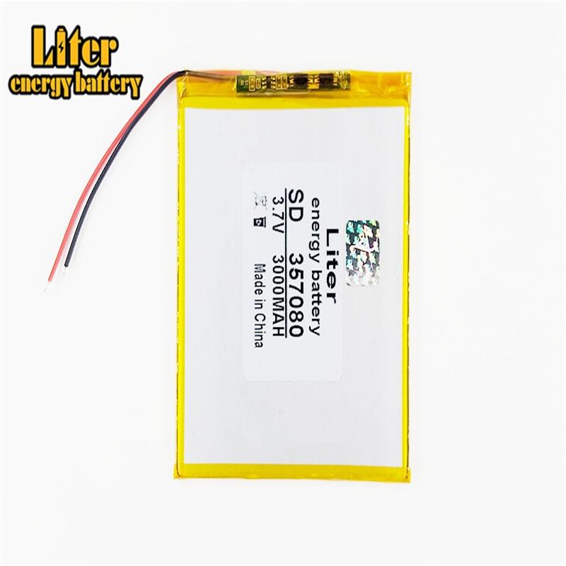 3.7 v 3000mah a bateria de polímero de bateria de painel plano de 6 polegadas tem uma bateria de carregamento embutida de 357080