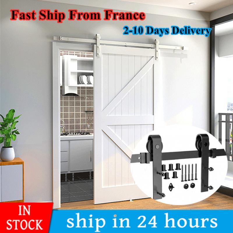 183/200CM Barn Door Hanging Rail Rustic Sliding Door Hardware Sliding Door System Track Kit Ship Fast Ship From France HWC