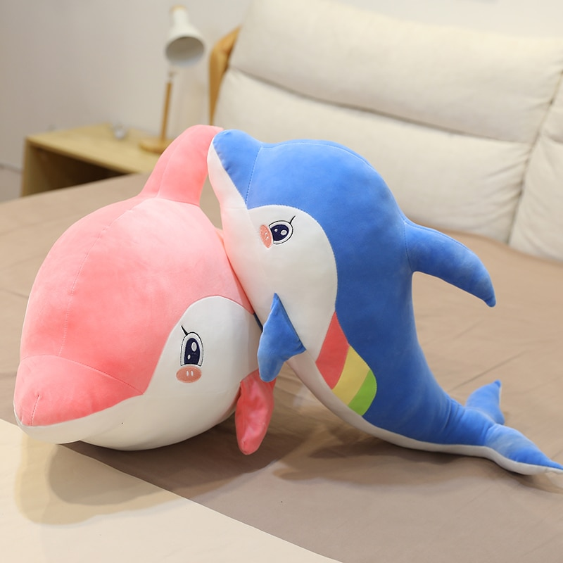 new arrive cat with fish pattern plush toy baby soft plush toys for children stuffed animal cat plush toy gift for kids birthday New Arrive Dolphin Plush Toy Pillow Baby Soft Plush Toys For Children Stuffed Animal Dolphin Sleeping Pillow Plush for Kids