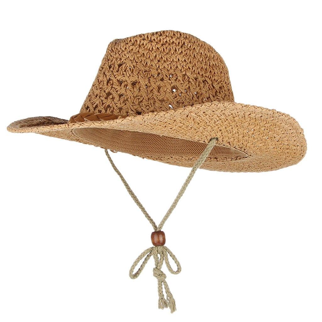 Hombres Mujeres Retro Western Cowboy Riding Hat cinturón de cuero gorra con visera ancha sombrero de paja sombrero de sol sombrero mujer #35