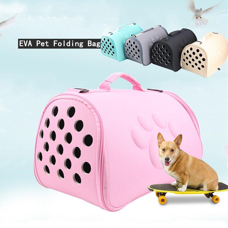 Pure Color Pet Carrier Bag Portable Outdoor Cat Foldable Dog Travel Pet Bag Puppy Carrying Shoulder Dog Bags Pet Supplies 2Sizes