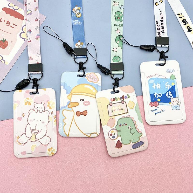 Kawaii Bear клипер держатель для смарт-карт для студентов автобусов со шнурком для фото-ключей сертификат кредитных карт для девушек брелок с ре...