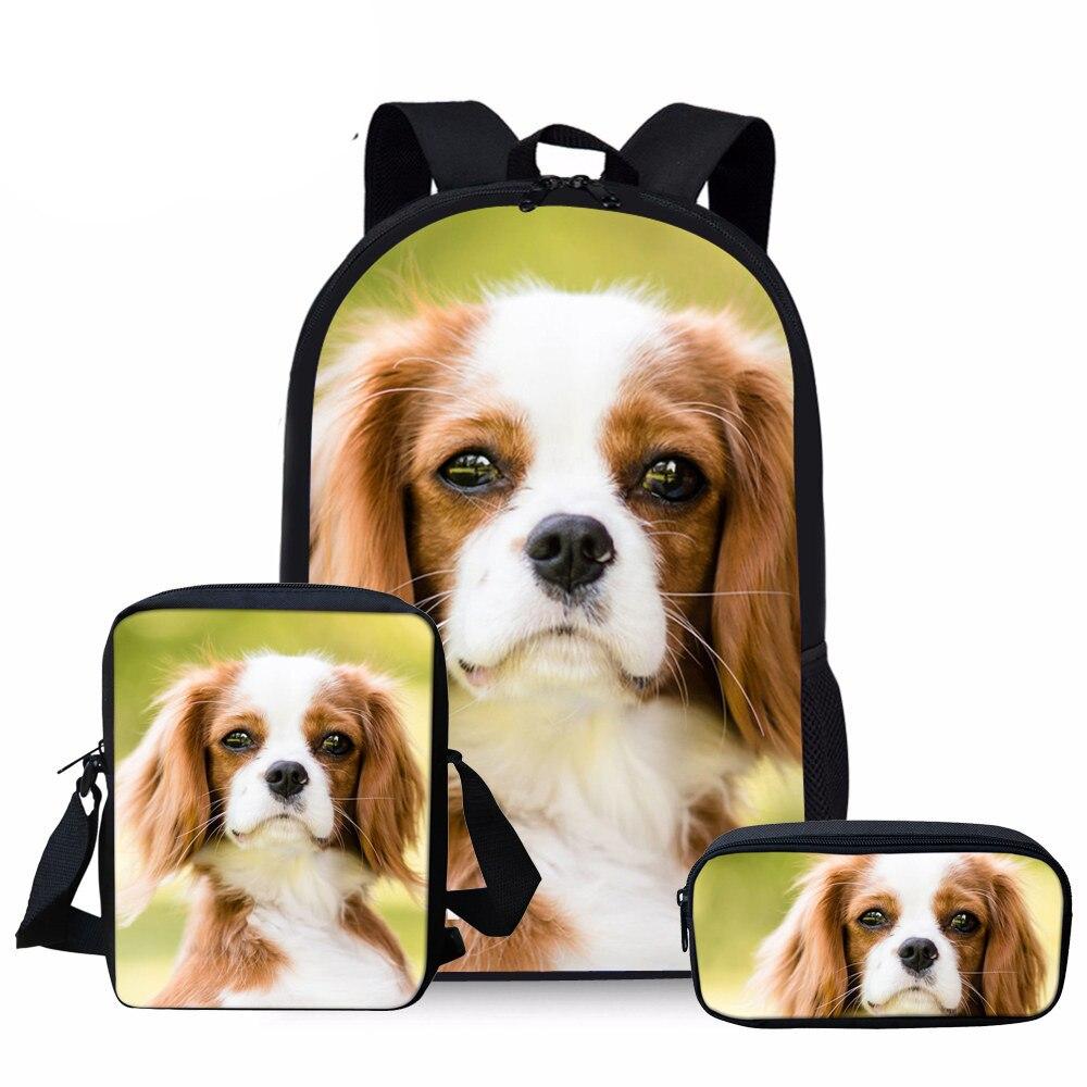 NOISYDESIGNS Kids School Bags Girls Cute Cavalier King Charles Spaniel Dog Schoolbag Children 3pcs/set Primary School Bookbag