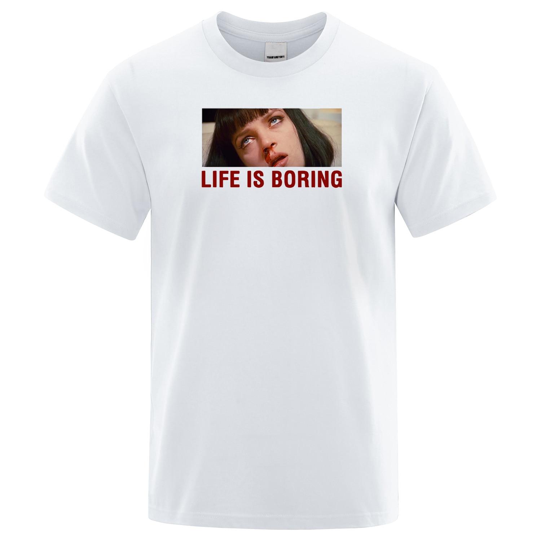Branco T-shirt do Verão Dos Homens Engraçado Da Novidade T Shirt Homens A Vida é Chata Letras Impressas camiseta Paródia Harajuku Manga Curta Tops