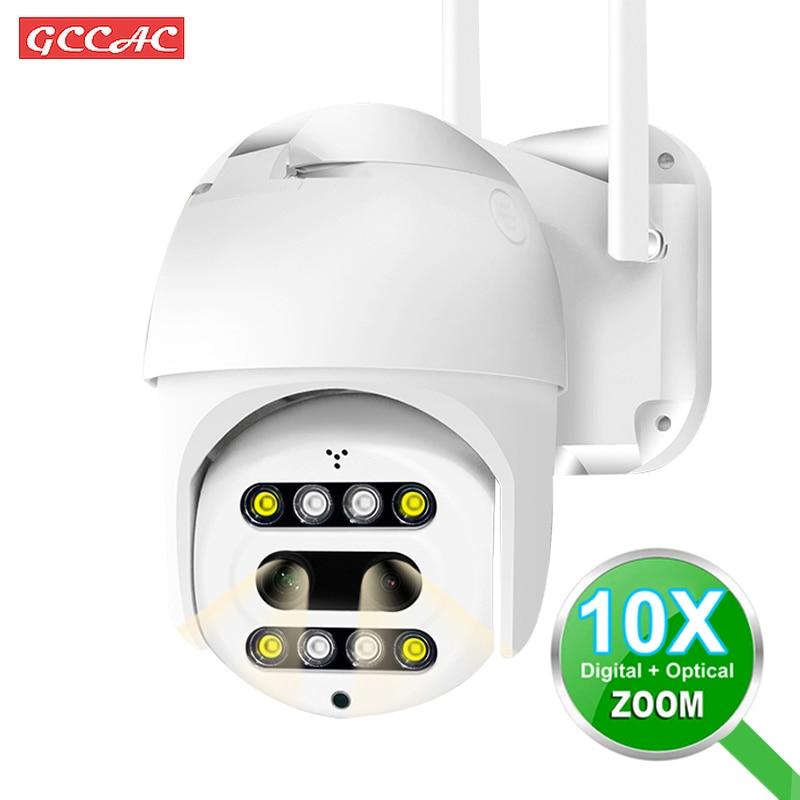 Binocular HD 1080P Outdoor IP Camera CCTV 360 PTZ 10X Zoom WiFi Camera Security Surveillance Monitor Outside Wireless Wi Fi Cam