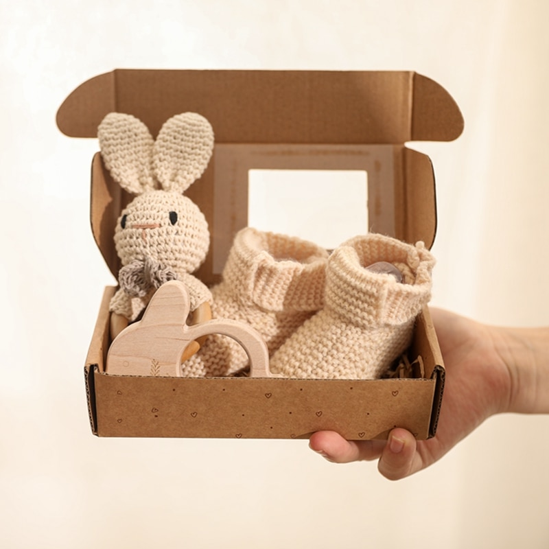 crochet baby dress set as picture show 3Pcs/Set Baby Rattle Rabbit Hand Crochet Shoes Set for 0-12 Months Newborn Wooden Animal Teether Toys for Baby Birth Gift Set