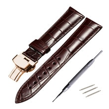 Véritable bracelet de montre en cuir de Crocodile 14mm 16mm 18mm 19mm 20mm 21mm 22mm montres bracelet café noir papillon boucle bracelet de montre