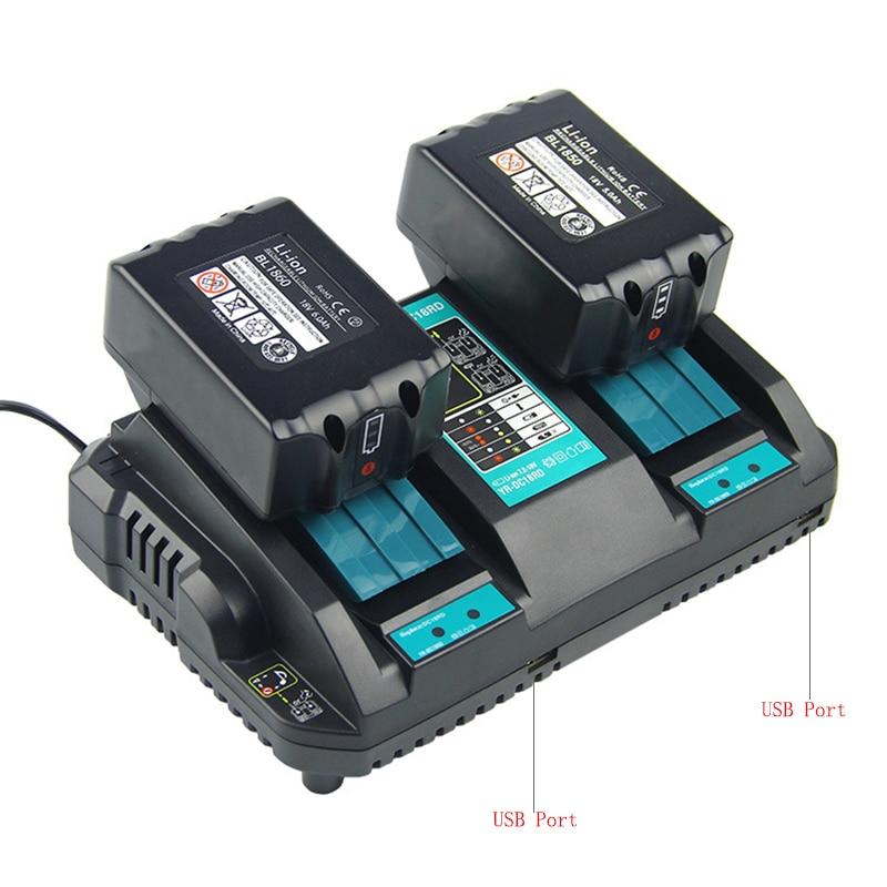 المزدوج USB منفذ شاحن ل ماكيتا شاحن بطارية 14.4V 18V BL1860 BL1415 BL1430 BL1830 BL1840 BL1850 BL1845
